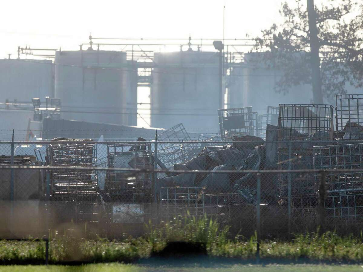 Damages are seen at K-Solv facility following an industrial fire the day before Thursday, April 8, 2021, in Channelview.