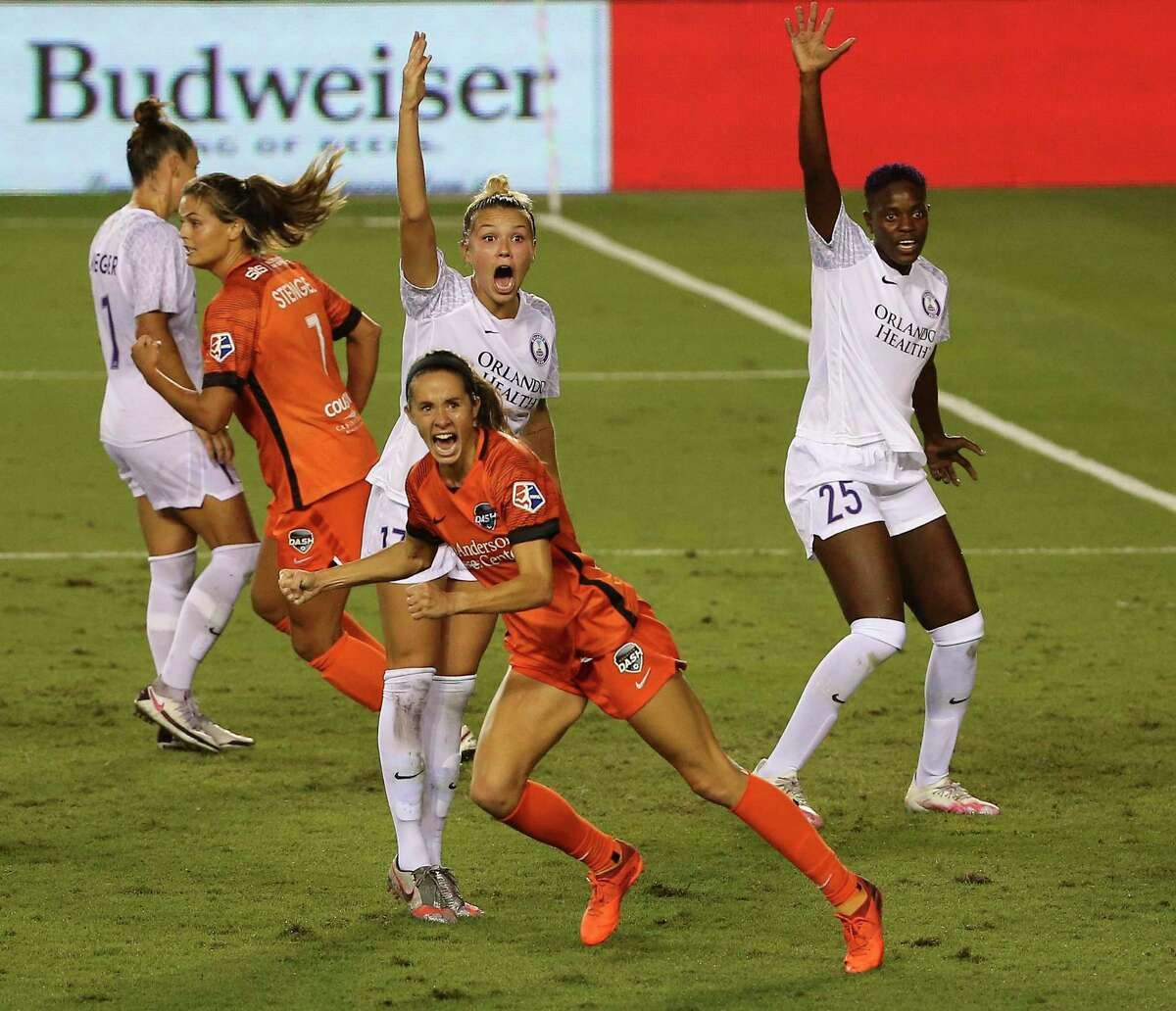 Shea Groom, reacting to a goal last season against Orlando, and the Dash want to show that last season's success was no fluke.