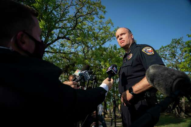 Bryan Police Chief Eric Buske speaks to the media at the scene of a shooting at Kent Moore Cabinets on Thursday, April 8, 2021, in Bryan. At least one person is reported dead, and six people were hospitalized. Photo: Mark Mulligan, Staff Photographer / © 2021 Mark Mulligan / Houston Chronicle