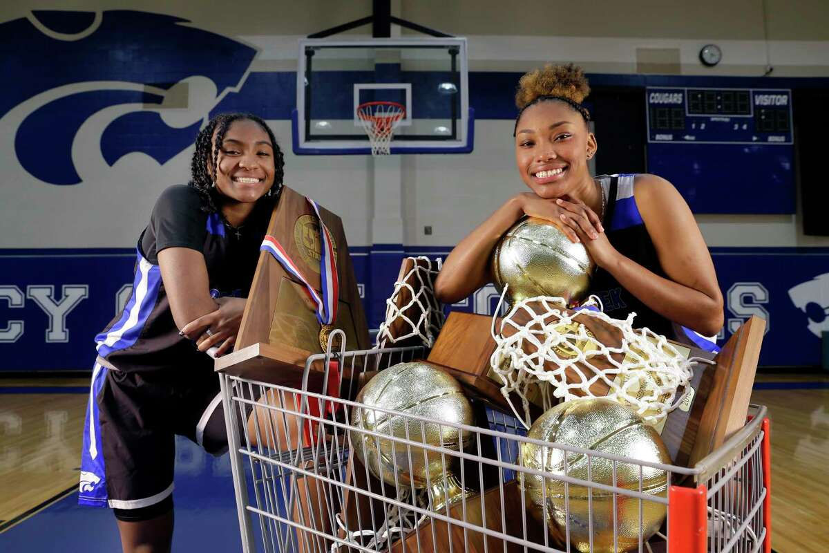All Greater Houston girls basketball players of the year, Cypress Creek's Rori Harmon, left, and Kyndall Hunter, right, brought home the hardward in their career.