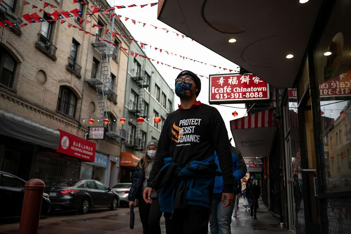 Chinatown Saftey Patrol volunteers led by Forrest Liu patrol San Francisco Chinatown on March 18, 2021. With the recent increase of hate crimes against Asian Americans and killing of 8 in Atlanta, a drastic increase of volunteers have showed up every night to help residents feel safe by patroling Asian American neighborhoods.