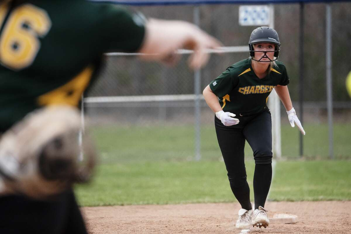 Dow's Maggie Wallace prepares to run from third base during a game against Meridian Thursday, April 8, 2021 at Merdian Early College High School. (Isaac Ritchey/for the Daily News)