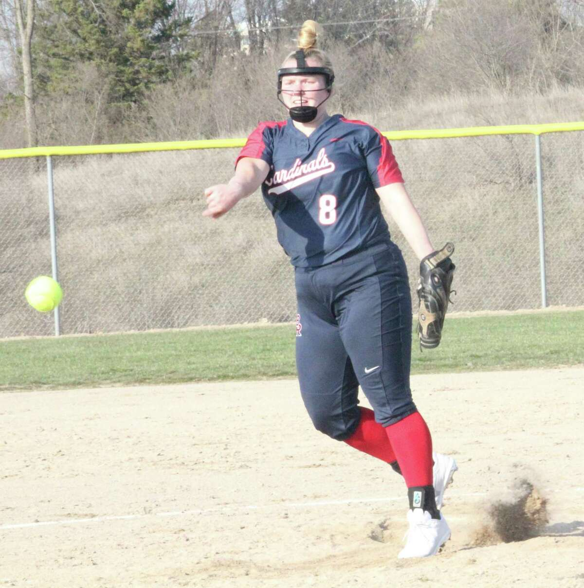 Big Rapids' Alissa Ruggles fires a pitch against Morley Stanwood on Tuesday. (Pioneer photo/John Raffel)