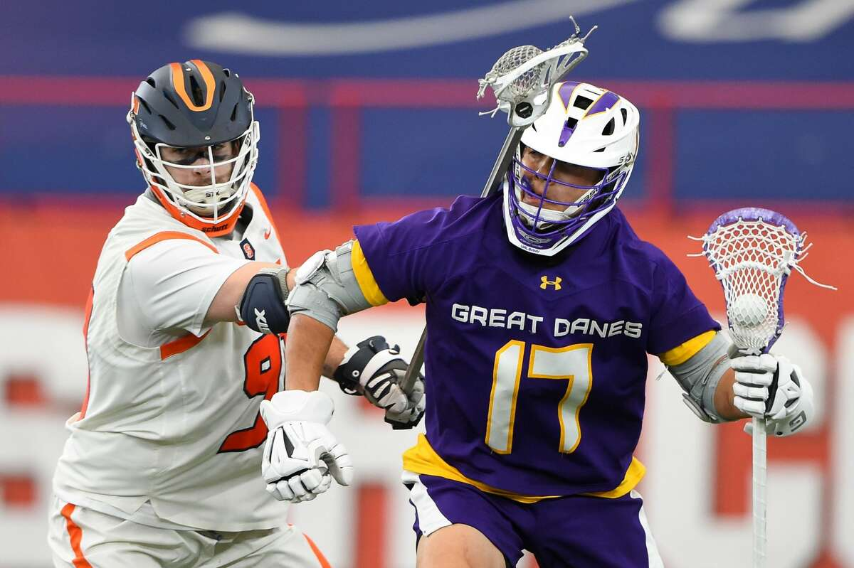 Syracuse held UAlbany attack Jakob Patterson to no goals and one assist in the Orange's 13-8 victory on Thursday, April 8, 2021. (Syracuse athletic communications)