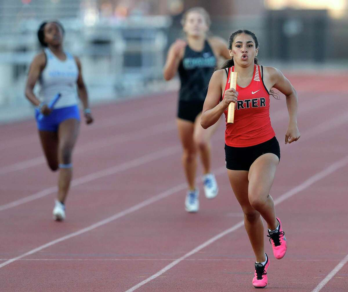 Porter competes in the girls 4x200 meter relay during the District 20-5A track and field championships at Turner Stadium, Thursday, April 8, 2021, in Humble.