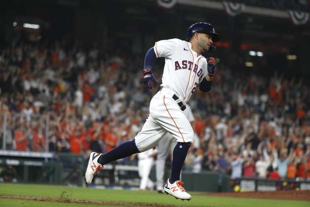 Houston Astros Jose Altuve (27) runs the bases after hitting a home run during the seventh inning of the Astros home opener MLB baseball game at Minute Maid Park, in Houston, Thursday, April 8, 2021. Photo: Karen Warren/Staff Photographer / @2021 Houston Chronicle