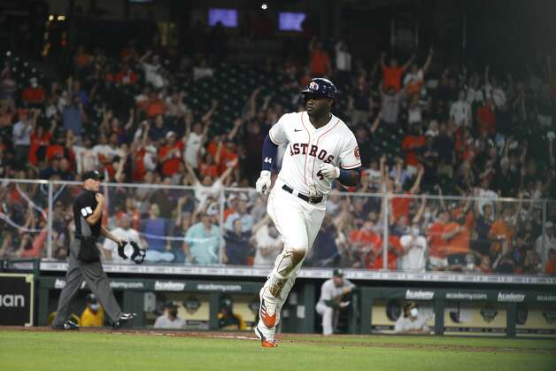 Houston Astros Yordan Alvarez (44) runs the bases after his home run during the sixth inning of the Astros home opener MLB baseball game at Minute Maid Park, in Houston, Thursday, April 8, 2021. Photo: Karen Warren/Staff Photographer / @2021 Houston Chronicle