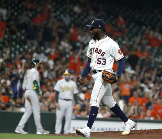 Houston Astros starting pitcher Cristian Javier (53) reacts after striking out Oakland Athletics Matt Olson (28) to end the fifth inning of the Astros home opener MLB baseball game at Minute Maid Park, in Houston, Thursday, April 8, 2021. Photo: Karen Warren/Staff Photographer / @2021 Houston Chronicle