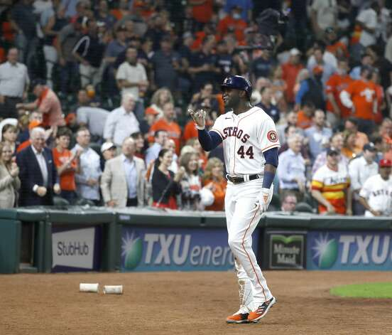 Houston Astros Yordan Alvarez (44) reacts after his home run during the sixth inning of the Astros home opener MLB baseball game at Minute Maid Park, in Houston, Thursday, April 8, 2021. Photo: Karen Warren/Staff Photographer / @2021 Houston Chronicle