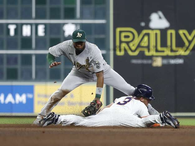Houston Astros Myles Straw (3) steals second base from Oakland Athletics shortstop Elvis Andrus (17) during the fifth inning of the Astros home opener MLB baseball game at Minute Maid Park, in Houston, Thursday, April 8, 2021. Photo: Karen Warren/Staff Photographer / @2021 Houston Chronicle