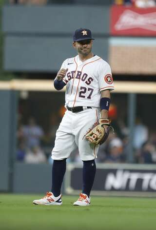 Houston Astros second baseman Jose Altuve (27) waves at a fan during the fourth inning of the Astros home opener MLB baseball game at Minute Maid Park, in Houston, Thursday, April 8, 2021. Photo: Karen Warren/Staff Photographer / @2021 Houston Chronicle
