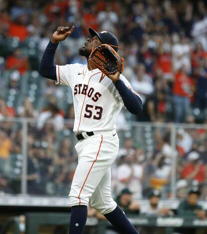 Houston Astros starting pitcher Cristian Javier (53)reacts after the first inning of the Astros home opener MLB baseball game at Minute Maid Park, in Houston, Thursday, April 8, 2021. Photo: Karen Warren/Staff Photographer / @2021 Houston Chronicle