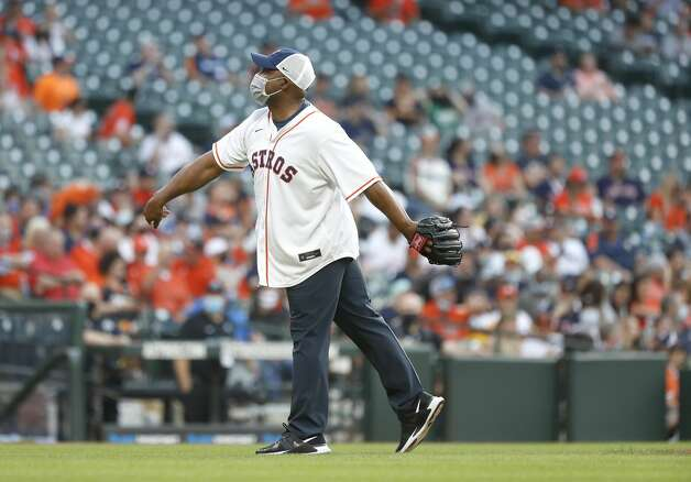 Houston Police Chief Troy Finner throws out the first pitch during the first inning of the Astros home opener MLB baseball game at Minute Maid Park, in Houston, Thursday, April 8, 2021. Photo: Karen Warren/Staff Photographer / @2021 Houston Chronicle