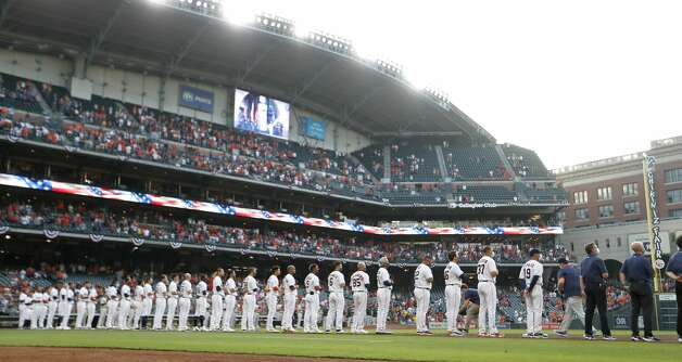 Houston Astros on the field during player lineups before the start of the Astros home opener MLB baseball game at Minute Maid Park, in Houston, Thursday, April 8, 2021. Photo: Karen Warren/Staff Photographer / @2021 Houston Chronicle