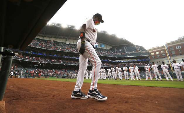 Houston Astros manager Dusty Baker Jr. walks onto the field during player lineups before the start of the Astros home opener MLB baseball game at Minute Maid Park, in Houston, Thursday, April 8, 2021. Photo: Karen Warren/Staff Photographer / @2021 Houston Chronicle