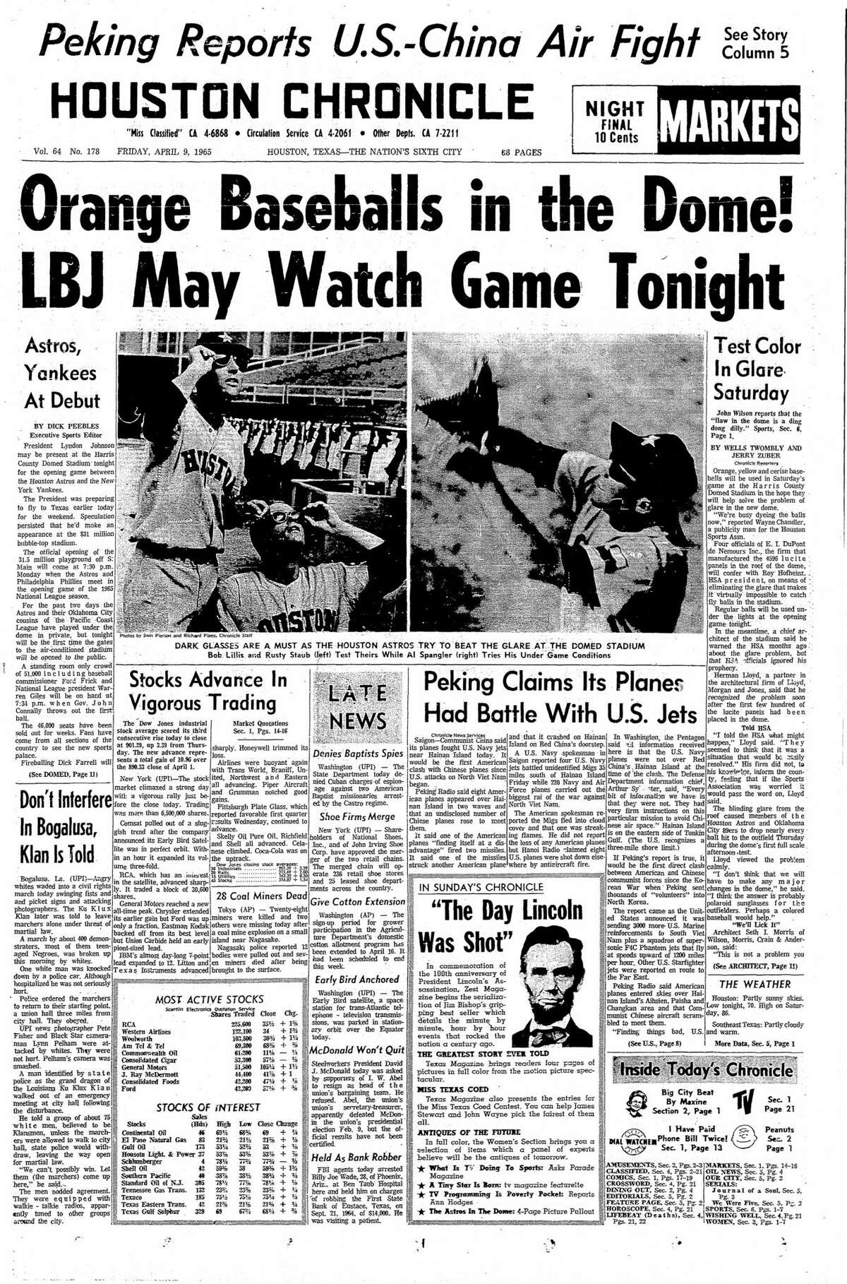 Houston Chronicle front page from April 9, 1965.