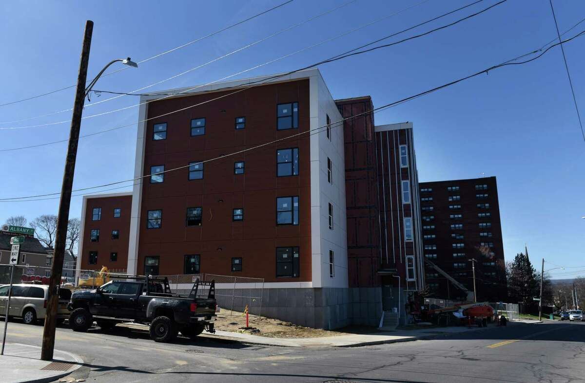 The Hillside Crossing, a 54-unit mid-rise apartment building on Albany Street, is under construction on Thursday, April 8, 2021, in Schenectady, N.Y. (Will Waldron/Times Union)