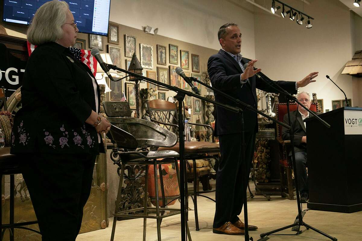 Mayoral Candidates Greg Brockhouse and Denise Gutierrez-Homer participate in the Greater Harmony Hills Neighborhood Association's Candidate Debate Night at Vogt Auction House in San Antonio on April 8, 2021.
