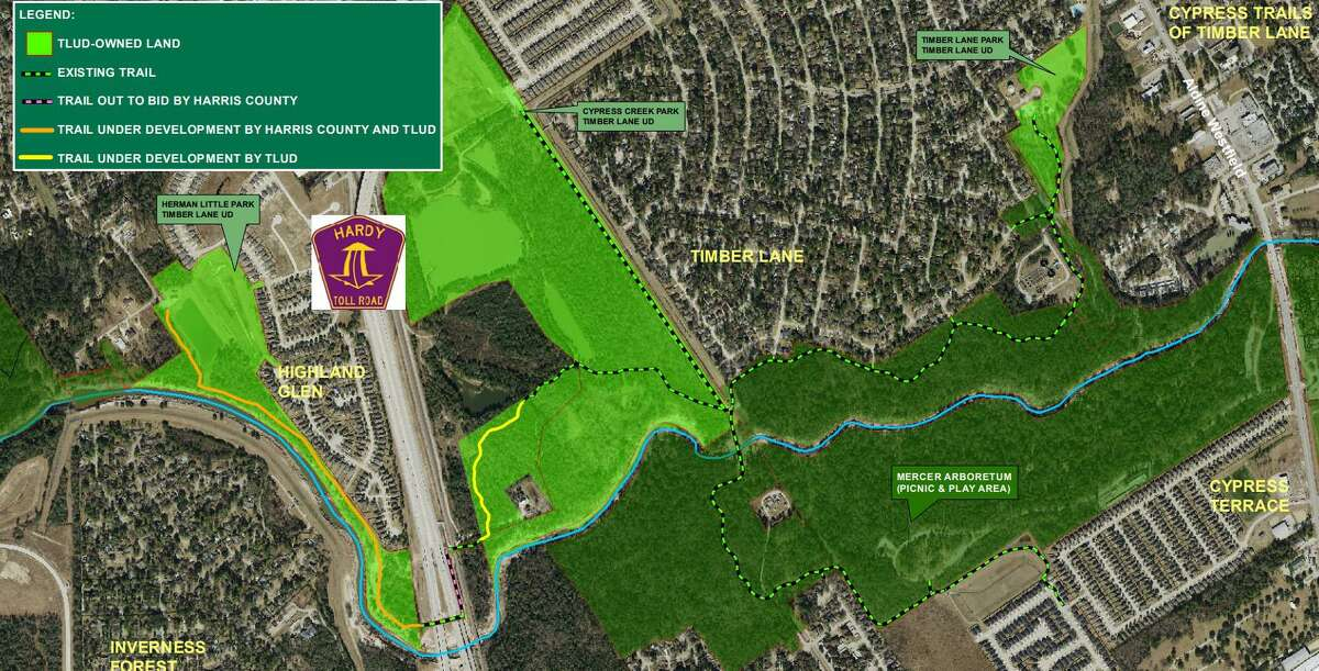 A project map shows plans for a trail that will link Timber Lane Utility District communities east and west of the Hardy Toll Road to parks and other amenities.