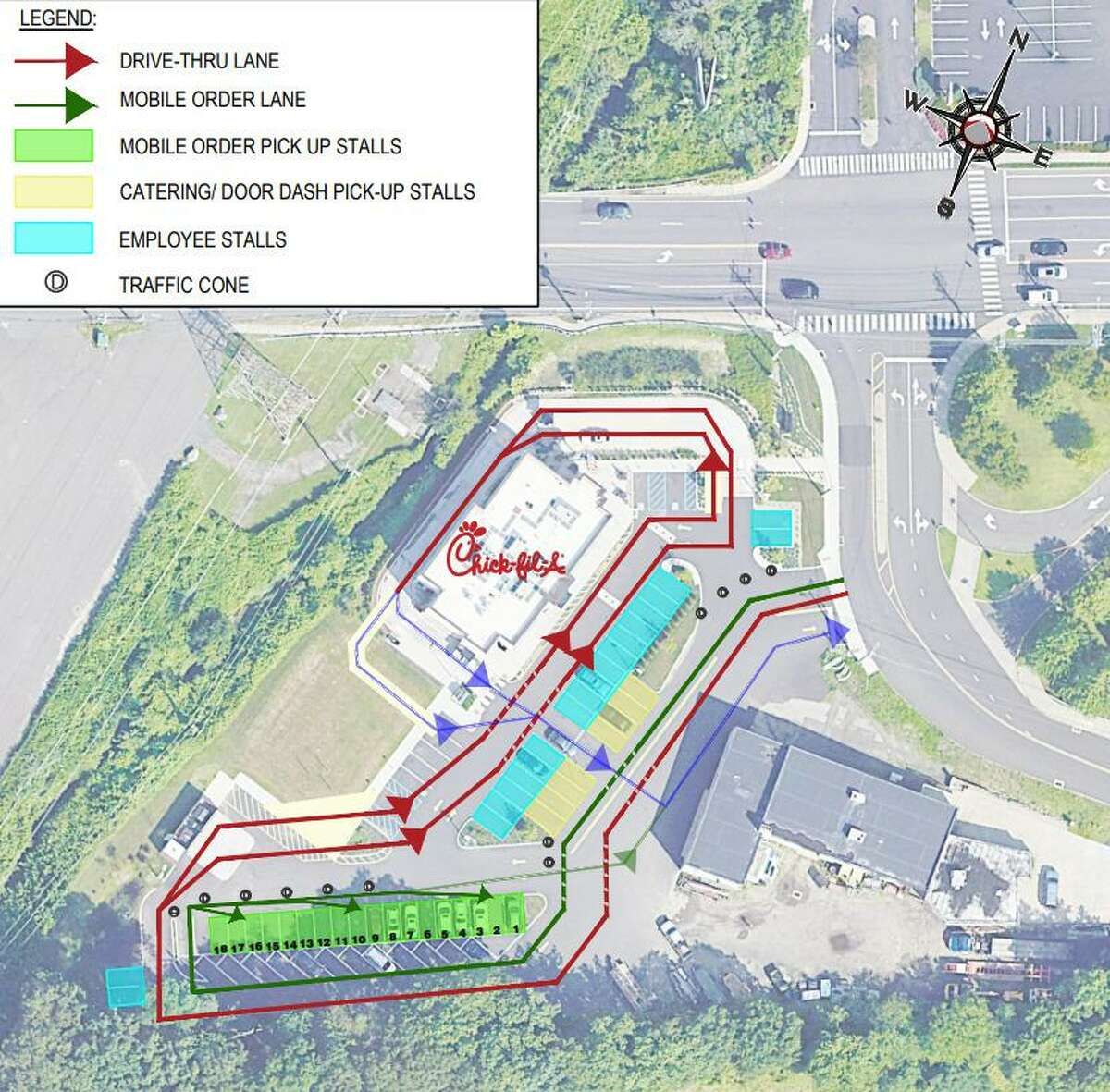 A mockup shows a proposed traffic pattern at the Connecticut Avenue Chick-fil-A, which has been plagued by congestion issues