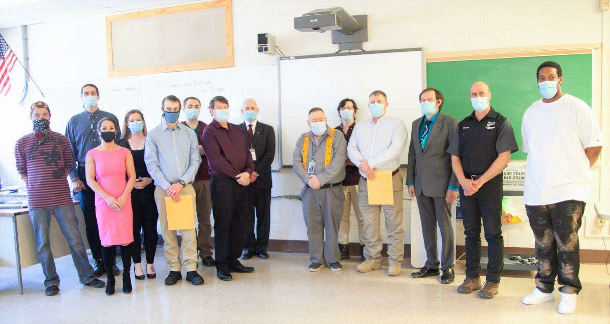 Eleven Skill Up for Manufacturing trainees collected their industry and pre-apprentice credentials and headed into the workforce recently following a brief graduation ceremony. Leaders from Workforce Alliance, Middlesex Community College and Vinal Technical High School gathered to celebrate this latest class.