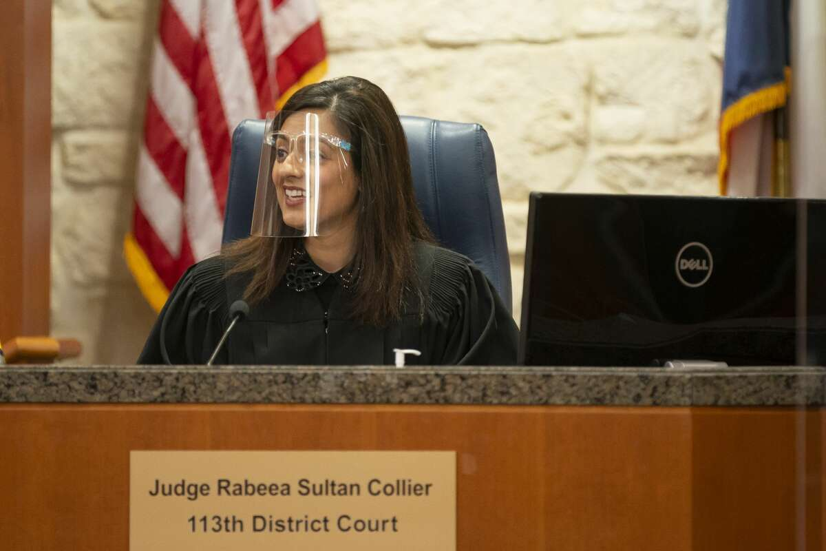 Appearing virtually, Tony Buzbee, who is representing women who have accused Texans quarterback Deshaun Watson of sexual assault and harassment, and Watson's defense attorney Rusty Hardin, appearing in person, appear before State Civil District Judge Rabeea Sultan Collier on Friday, April 9, 2021, at the Harris County Civil Courthouse in Houston
