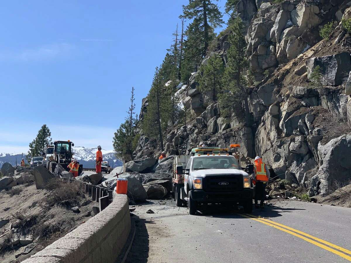 Caltrans crews cleared a rockslide on Highway 50 near Lake Tahoe on April 9, 2021.