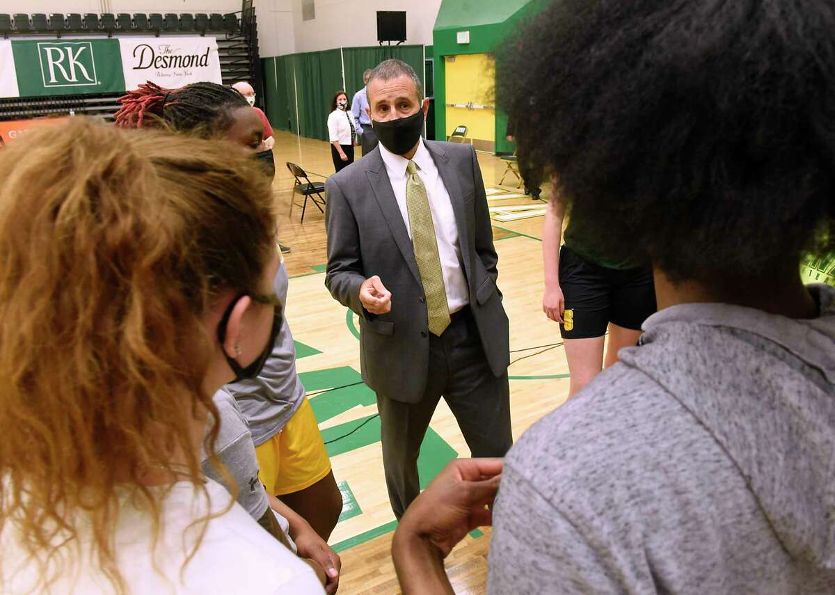 Jim Jabir, new Siena women's basketball head coach, talks to some of his players during a press conference on Thursday, April 8, 2021 in Loudonville, N.Y. Jabir coached Siena from 1987 to 1990. (Lori Van Buren/Times Union)
