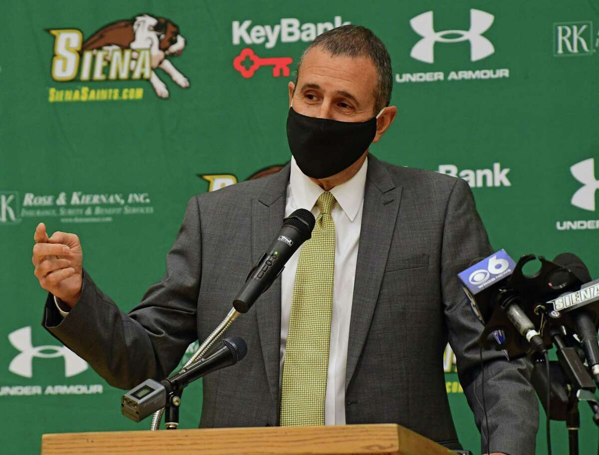 Jim Jabir speaks during a press conference introducing him as the new Siena women's basketball head coach on Thursday, April 8, 2021 in Loudonville, N.Y. Jabir coached Siena from 1987 to 1990. (Lori Van Buren/Times Union)