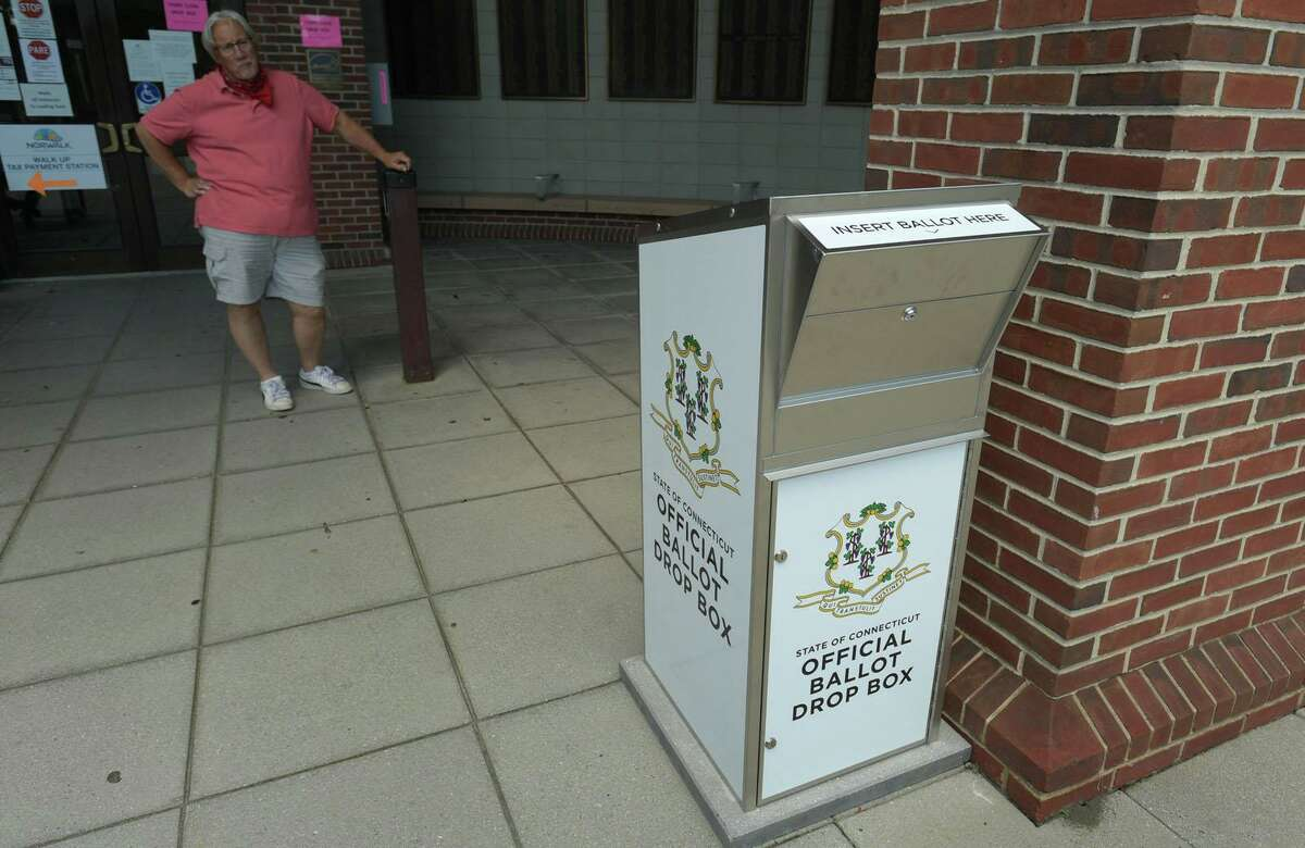 A ballot drop box in Norwalk in advance of the 2020 election.