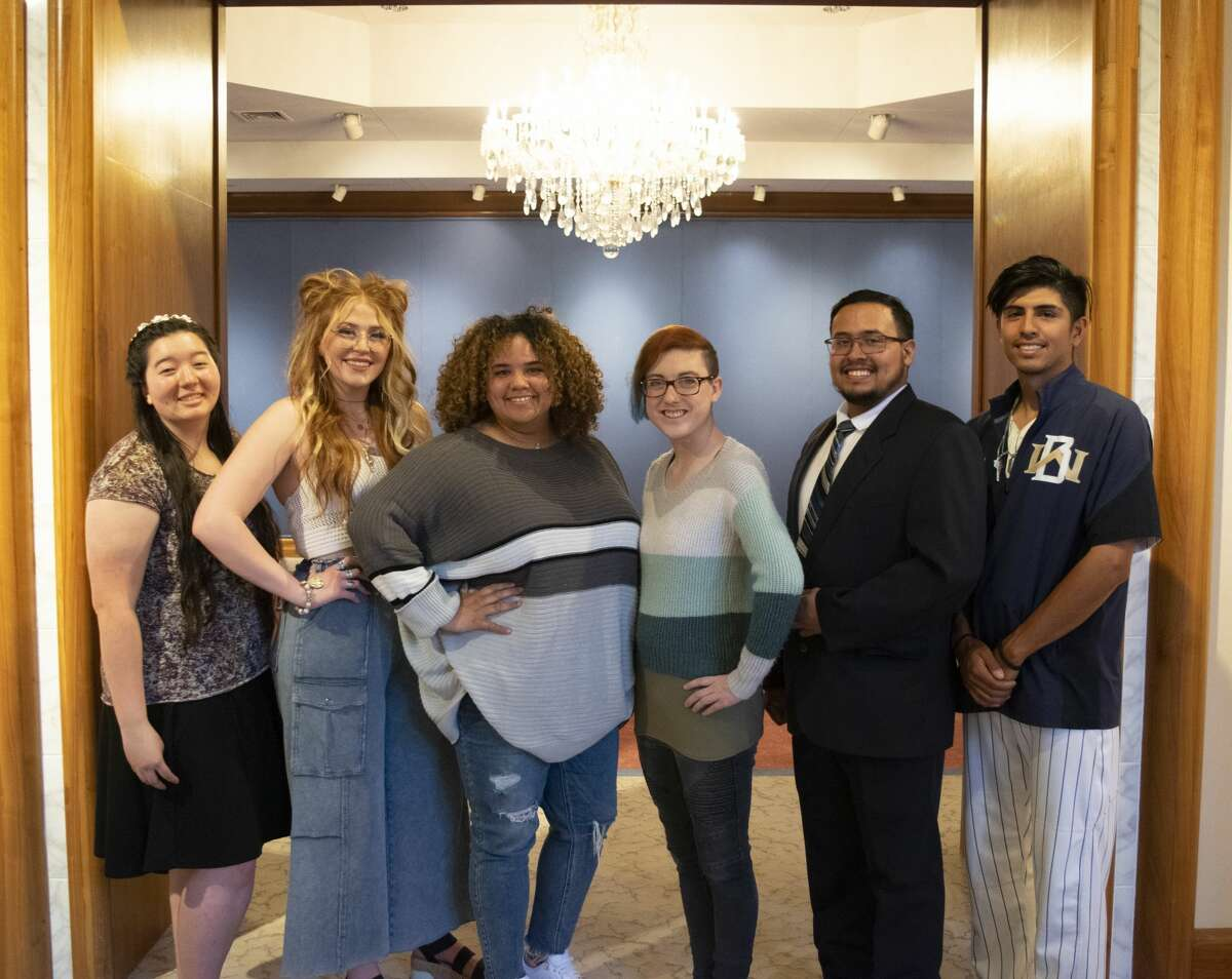 Artwork by Wayland Baptist University senior art students will be on display at the Abraham Art Gallery through April 24. Pictured L-R: Anna Epp, Kinsley Monroe, Dylana Williams, Faithe Hambright, Leonel Falcon and Alec buitron.