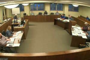 The Huron County Planning Commission during this week's meeting, where the planners approved site plans for the next phase of the Deerfield Wind Energy farm. (Robert Creenan/Huron Daily Tribune)