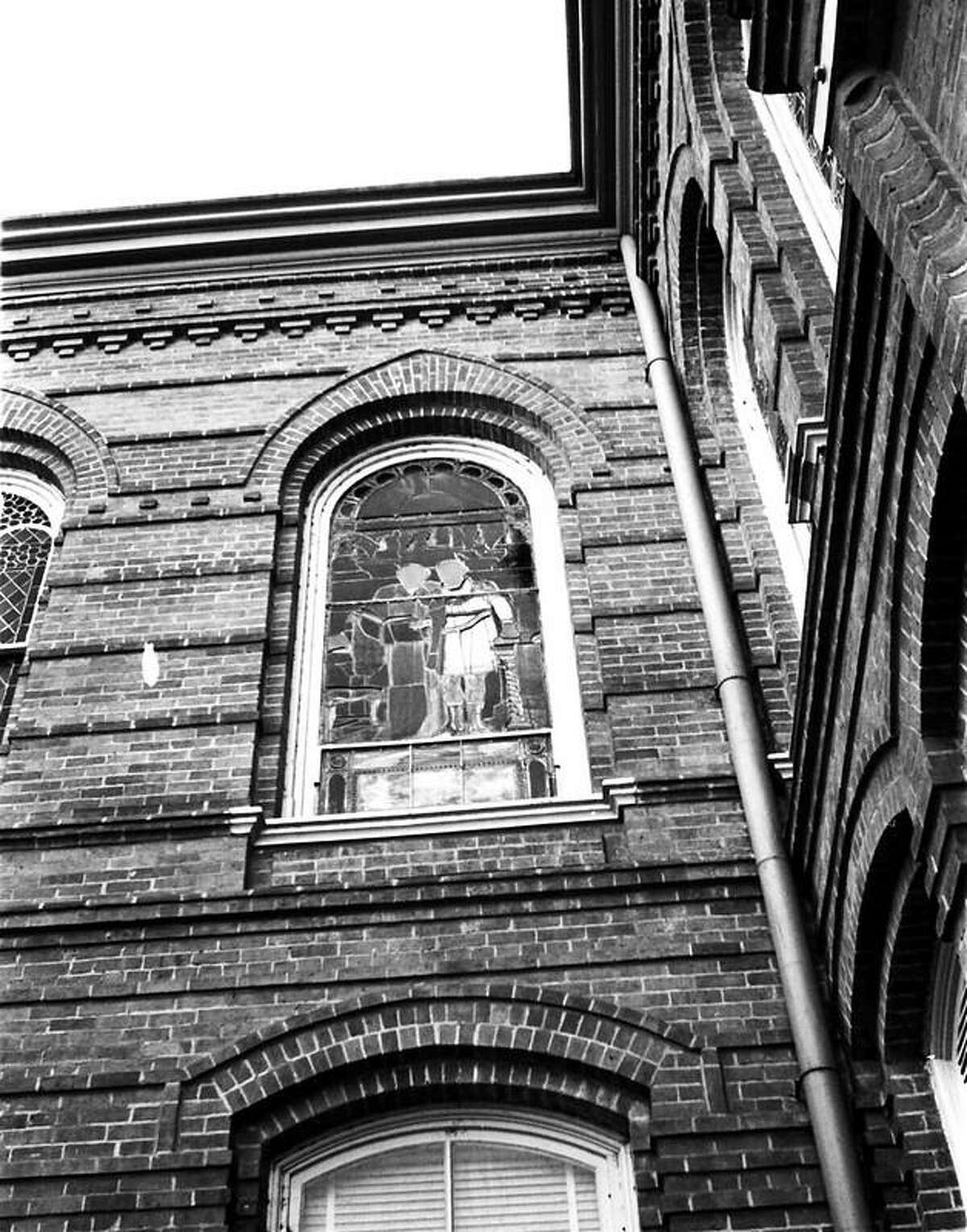 The original stained-glass window at Old Main on the Sam Houston State University campus in the 1970s.