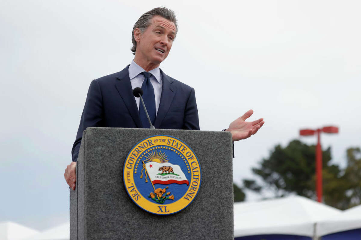 California Gov. Gavin Newsom speaks during a news conference after touring the vaccination clinic at City College of San Francisco on April 6, 2021, in San Francisco.