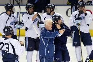 PORTLAND, ME - OCTOBER 8: Red Gendron, coach of the UMaine men's hockey team, instructs his players during their final practice Thursday, October 8, 2015, at Cross Insurance Arena before the season opener. (Photo by Gabe Souza/Portland Portland Press Herald via Getty Images)