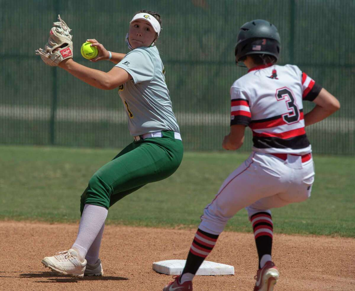 Midland College's Ciera Avila gets the force out at second on Howard College's Alyssa Rundell and looks to throw to first for a double play 04/09/21 at Midland College softball field. Tim Fischer/Reporter-Telegram
