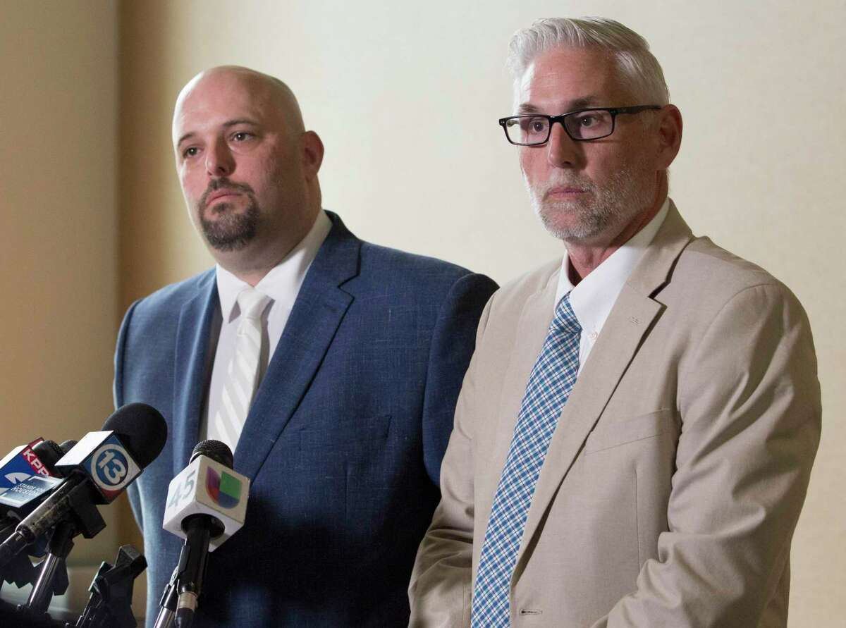 Nicholas Poehl, left, and Robert Barfield, attorneys for accused Santa Fe High School shooter Dimitrios Pagourtzis, speak during a press conference after Judge John Ellisor announced the murder trial of Pagourtzis will be moved to Fort Bend County on Friday, June 21, 2019, in Galveston.