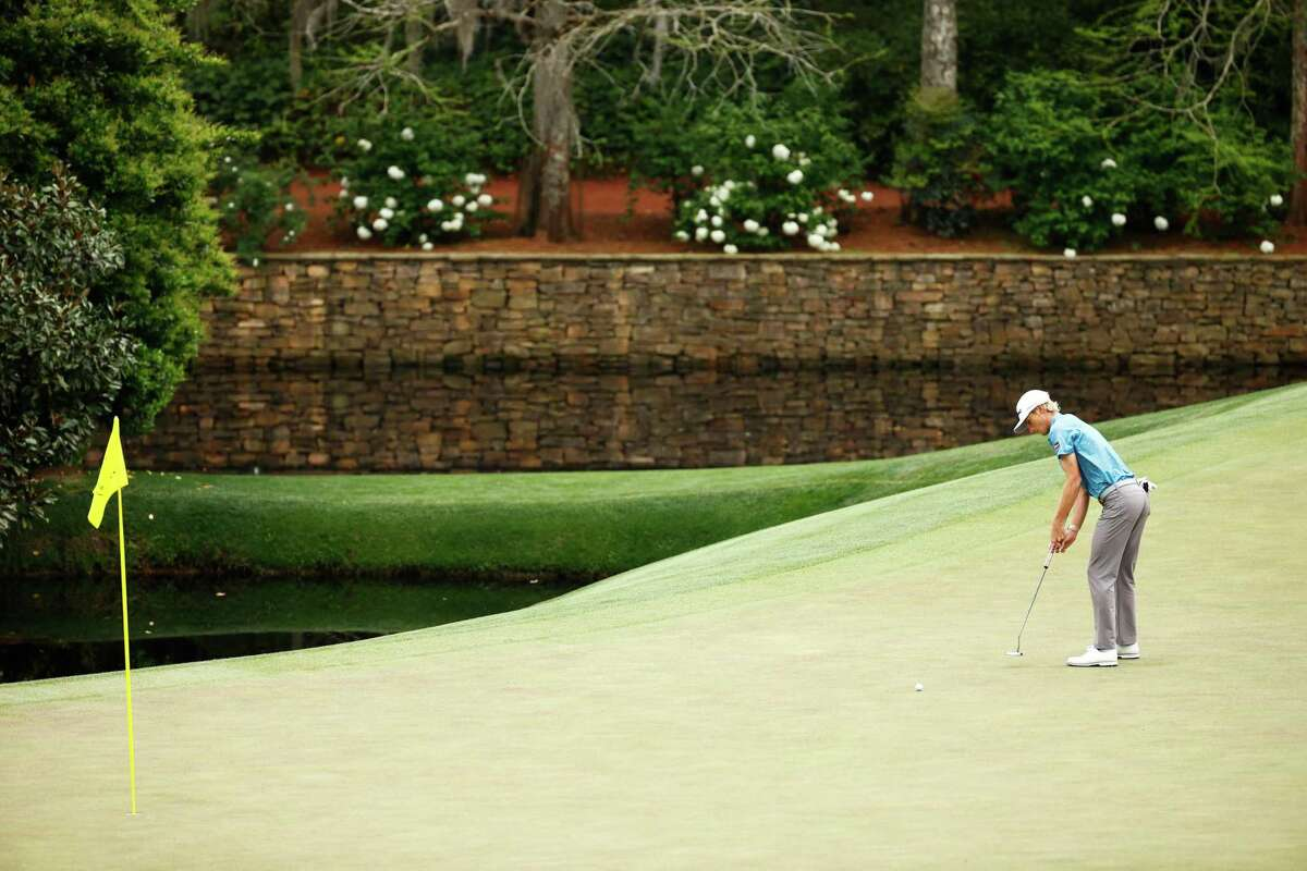 Will Zalatoris of the United States putts on the 11th green during the second round of the Masters. Zalatoris finished second behind Japan's Hideki Matsuyama.
