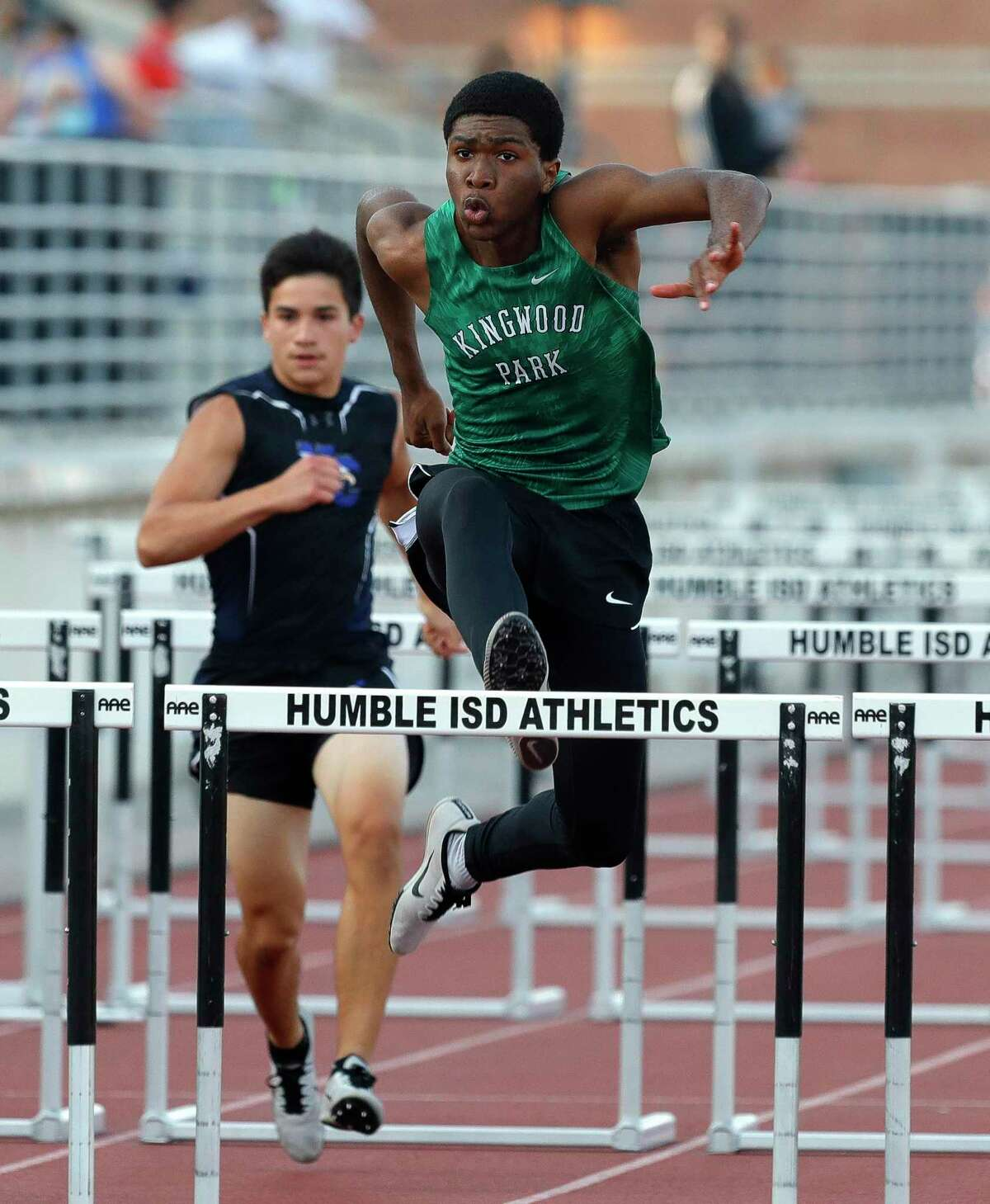 Solomon Karash of Kingwood Park competes in the boys 110-meter hurdles during the District 20-5A track and field championships at Turner Stadium, Thursday, April 8, 2021, in Humble.