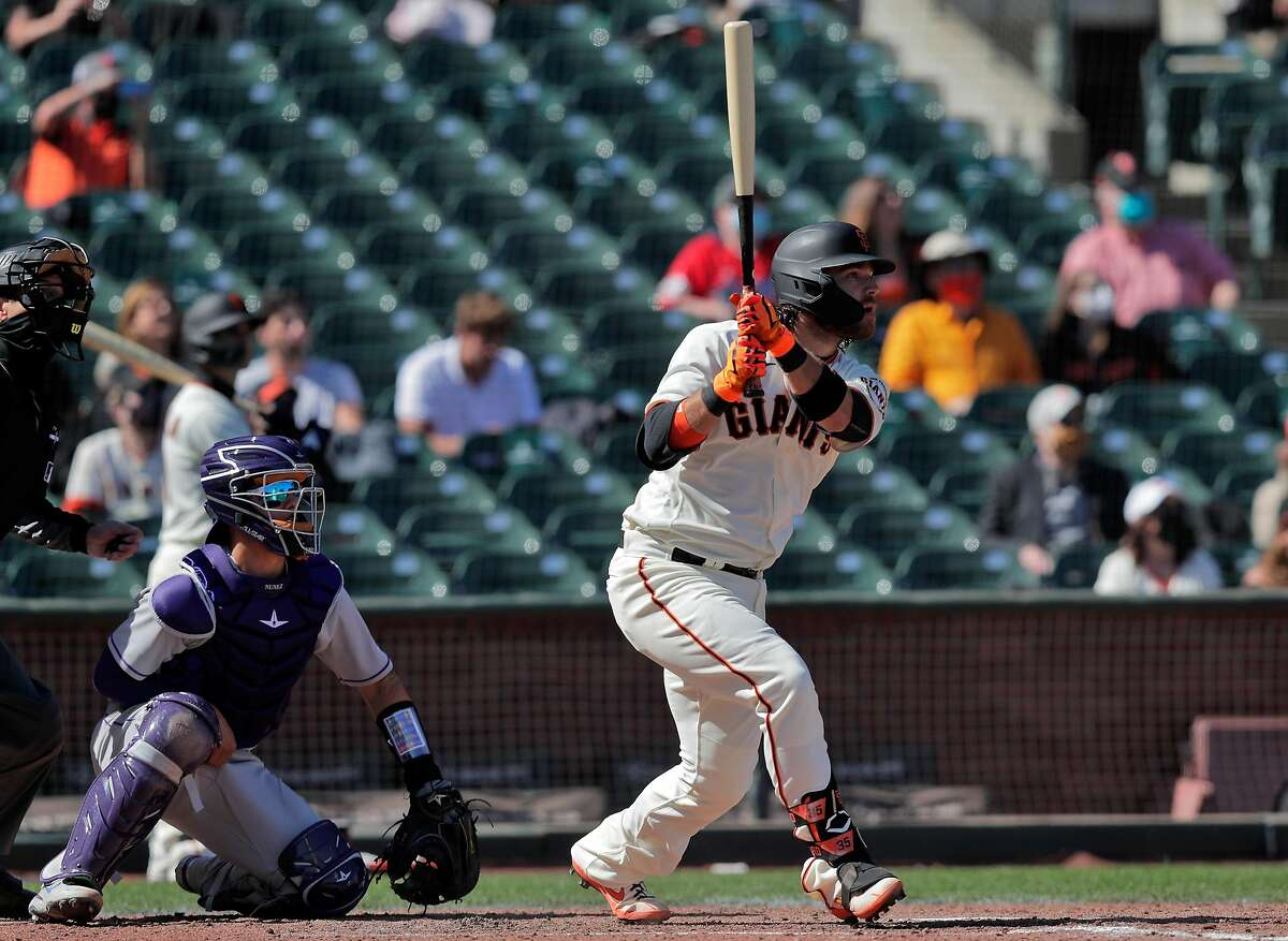 Brandon Crawford' two-run double in the seventh inning was the big his for the Giants in the win over the Rockies in their home opener.