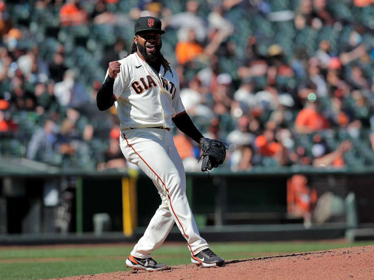 Johnny Cueto (47) reacts after striking out C. J. Cron (25) in the seventh inning as the San Francisco Giants played the Colorado Rockies at Oracle Park in San Francisco Calif., on Friday, April 9, 2021.