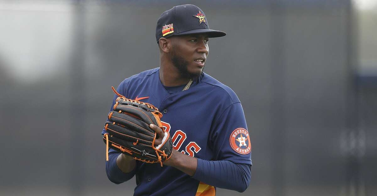 Houston Astros pitcher Enoli Paredes (48) during spring training workouts for the Astros at Ballpark of the Palm Beaches in West Palm Beach, Florida, Thursday, February 25, 2021.
