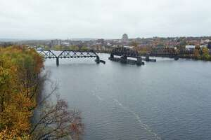 A view of Middletown's Connecticut Riverfront from the vantage point of the Portland side of the Arrigoni Bridge