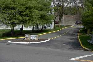 Entrance to condo complex at 55 Mill Plain Road, in Danbury, Conn. Friday, April 9, 2021.
