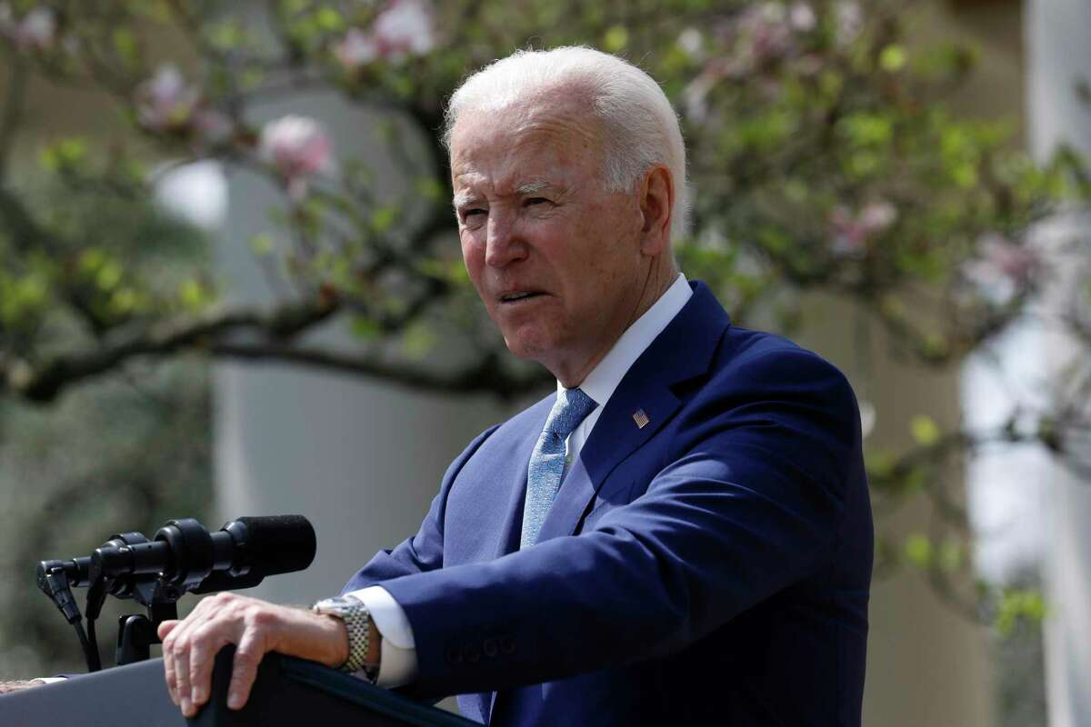 President Joe Biden delivers remarks on gun violence prevention in the Rose Garden of the White House in Washington on April 8, 2021. (Yuri Gripas/Abaca Press/TNS)