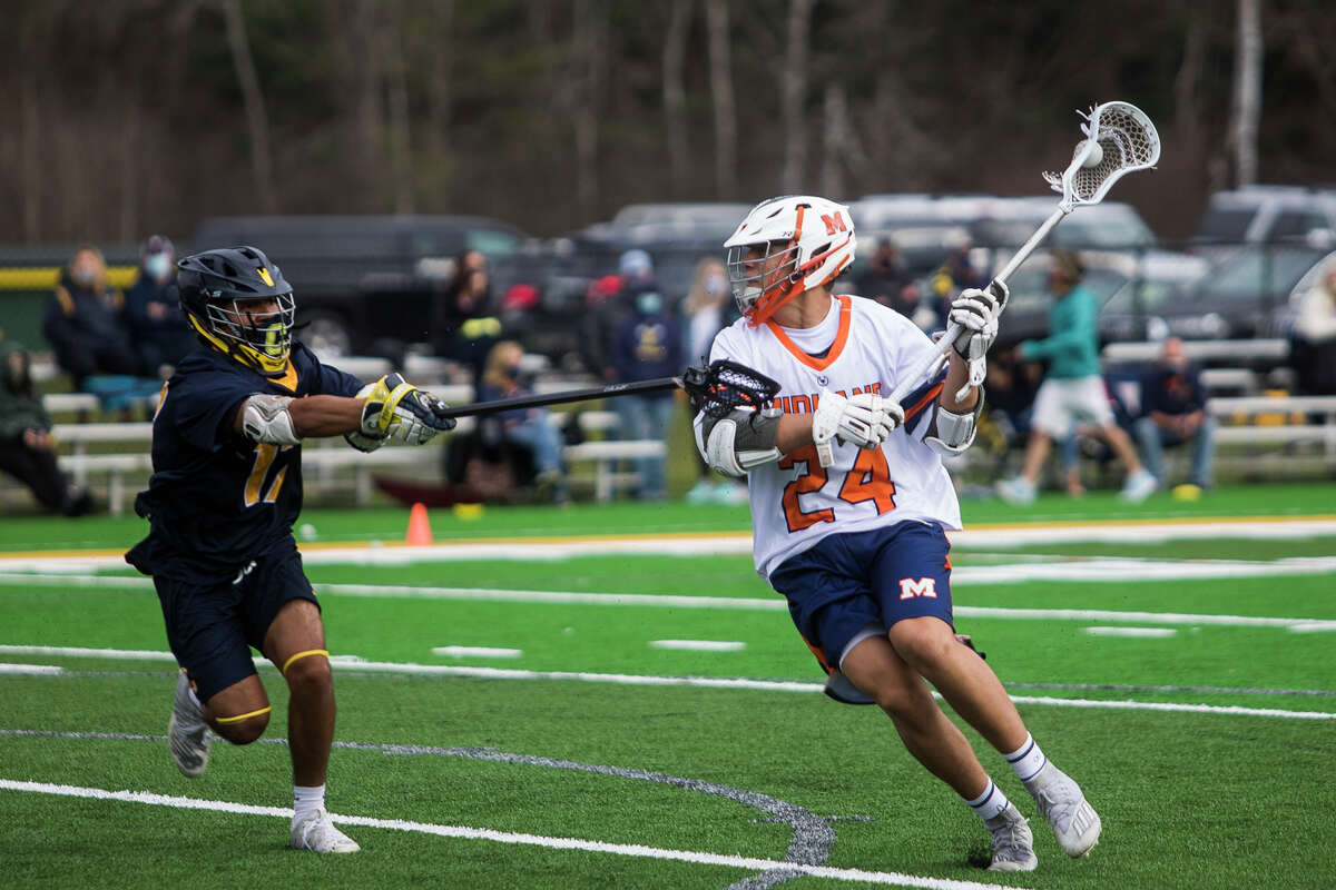 Midland's Chase Mahabir runs the ball down the field during a game against Clarkston Friday, April 9, 2021 at the new turf field at H. H. Dow High School. (Katy Kildee/kkildee@mdn.net)