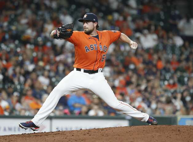 Houston Astros relief pitcher Blake Taylor (62) pitches during the eighth inning of an MLB baseball game at Minute Maid Park, in Houston, Friday, April 9, 2021. Photo: Karen Warren/Staff Photographer / @2021 Houston Chronicle