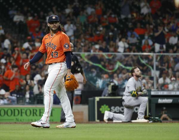 Houston Astros starting pitcher Lance McCullers Jr. (43) reacts after striking out Oakland Athletics Jed Lowrie (8) during the fifth inning of an MLB baseball game at Minute Maid Park, in Houston, Friday, April 9, 2021. Photo: Karen Warren/Staff Photographer / @2021 Houston Chronicle