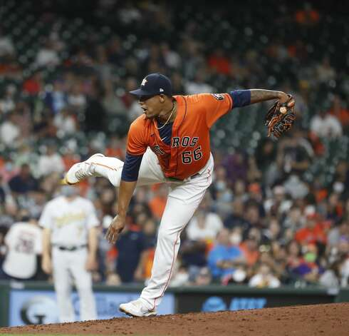 Houston Astros starting pitcher Bryan Abreu (66) pitches during the sixth inning of an MLB baseball game at Minute Maid Park, in Houston, Friday, April 9, 2021. Photo: Karen Warren/Staff Photographer / @2021 Houston Chronicle