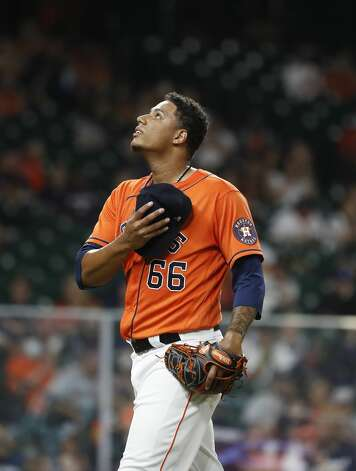 Houston Astros relief pitcher Bryan Abreu reacts after pulled by manager Dusty Baker Jr. during the eighth inning of an MLB baseball game at Minute Maid Park, in Houston, Friday, April 9, 2021. Photo: Karen Warren/Staff Photographer / @2021 Houston Chronicle